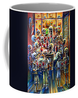 Coffee Mug featuring the painting Skeleton Wine Party by Heather Calderon