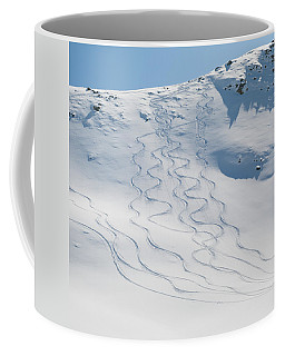 Ski Tracks In The Snow On A Mountain Coffee Mug