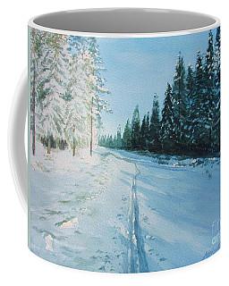 Coffee Mug featuring the painting Ski Tracks by Martin Howard