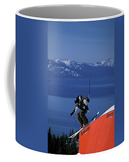 Skier On A Rail In A Terrain Park Coffee Mug