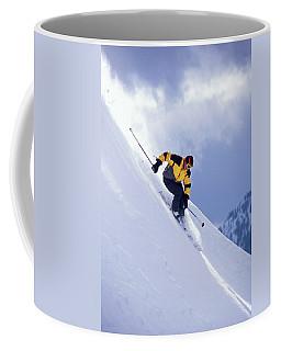 Skier On Powder Slope Coffee Mug
