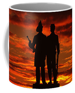 Coffee Mug featuring the photograph Sky Fire - 73rd Ny Infantry Fourth Excelsior Second Fire Zouaves-a1 Sunrise Autumn Gettysburg by Michael Mazaika