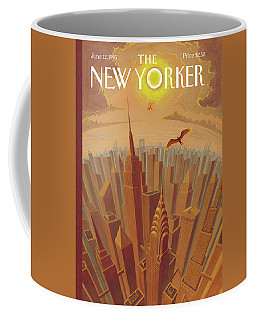 Skyline Of Nyc At Sunset With Icarus Flying Close Coffee Mug