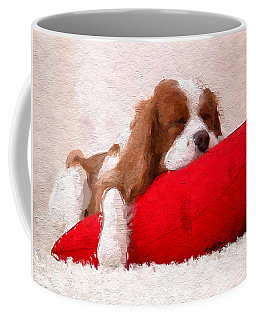 Sleeping Puppy On Red Pillow Coffee Mug by Anthony Fishburne