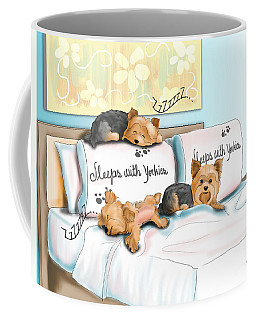 Sleeps With Yorkies Coffee Mug