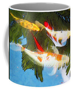 Coffee Mug featuring the painting Slow Drift - Colorful Koi Fish by Sharon Cummings