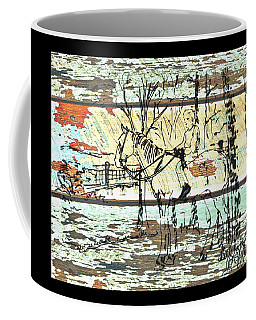 Coffee Mug featuring the drawing His First Horse  by Larry Campbell