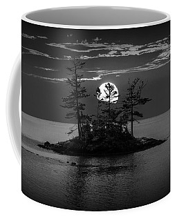 Small Island At Sunset In Black And White Coffee Mug