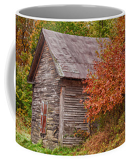 Coffee Mug featuring the photograph Small Wooden Shack In The Autumn Colors by Jeff Folger
