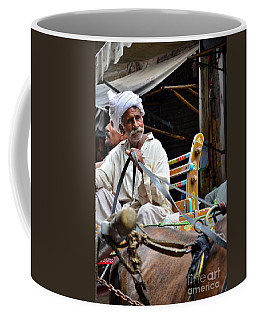 Smiling Man Drives Horse Carriage In Lahore Pakistan Coffee Mug