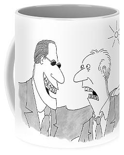 Smiling Man With California Shaped Teeth Greets Coffee Mug