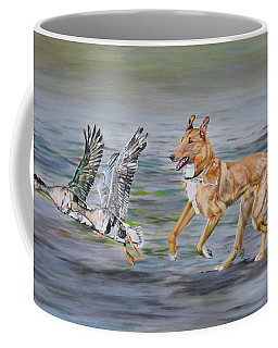 Smooth Collie Trying To Herd Geese Coffee Mug