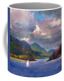 Coffee Mug featuring the painting Smooth Sailing Sailboat On Alaska Inside Passage by Talya Johnson
