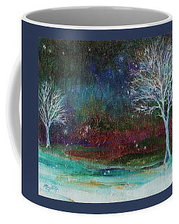 Coffee Mug featuring the painting Snow At Twilight by Mary Wolf