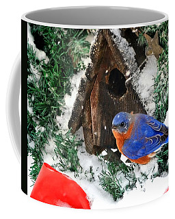 Snow Bluebird Christmas Card Coffee Mug