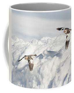 Snow Buntings In Flight Coffee Mug
