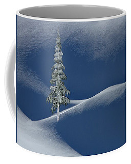 Snow Covered Tree And Mountains Color Coffee Mug
