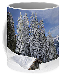 Snow Covered Trees And Mountains In Beautiful Winter Landscape Coffee Mug