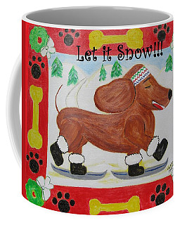 Coffee Mug featuring the painting Snow Dog by Diane Pape