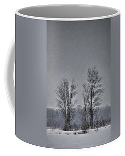 Coffee Mug featuring the photograph Snow Falling On Bare Trees by Beth Sawickie