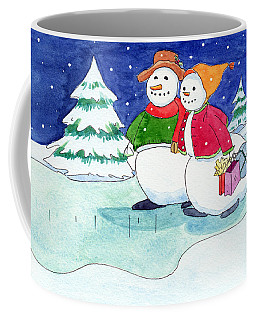 Coffee Mug featuring the painting Snow Folks - Shoppers by Katherine Miller