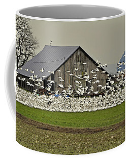 Coffee Mug featuring the photograph Snow Geese By Old Barn Art Prints by Valerie Garner