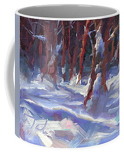 Coffee Mug featuring the painting Snow Laden - Winter Snow Covered Trees by Talya Johnson