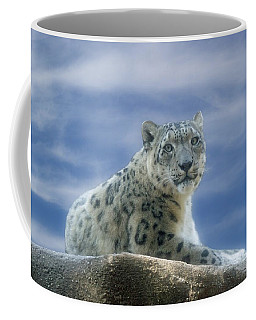 Snow Leopard Coffee Mug by Sandy Keeton