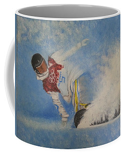 Coffee Mug featuring the painting Snowboarder by Amelie Simmons