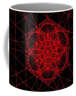 Coffee Mug featuring the drawing Snowflake Shape Comes From Frequency And Mass by Jason Padgett