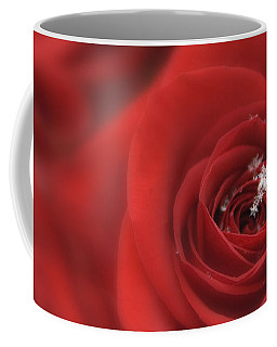 Snowflakes On A Rose Coffee Mug