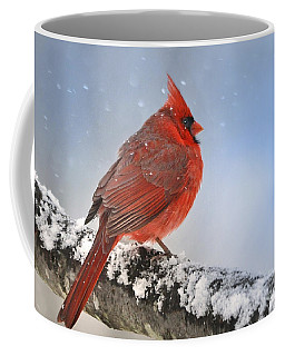 Coffee Mug featuring the photograph Snowing On Red Cardinal by Nava Thompson
