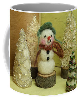 Snowman And Trees Holiday Coffee Mug