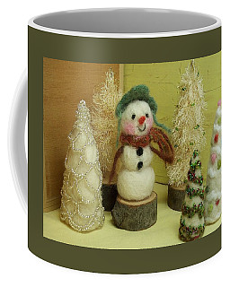 Snowman And Trees Holiday Coffee Mug