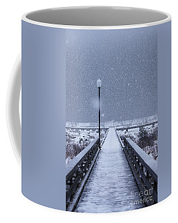 Snowy Day On The Boardwalk Coffee Mug