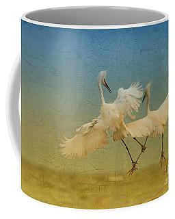 Snowy Egret Dance Coffee Mug by Deborah Benoit