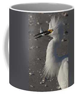 Snowy Egret Fishing Coffee Mug