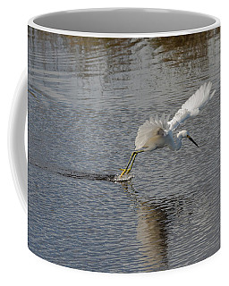 Coffee Mug featuring the photograph Snowy Egret Wind Sailing by John M Bailey
