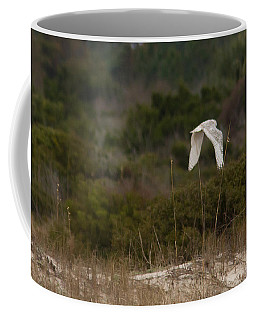 Coffee Mug featuring the photograph Snowy Owl Dune Flight by Paul Rebmann