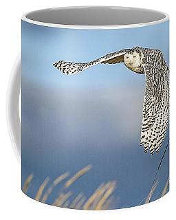 Snowy Owl Over The Dunes Coffee Mug