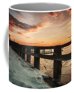 Snowy Sunset In Northport New York Coffee Mug