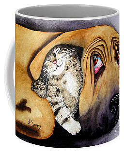 Coffee Mug featuring the painting Snuggles by Diane DeSavoy