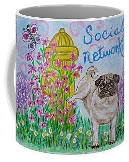 Coffee Mug featuring the painting Social Networking Pug by Diane Pape