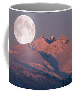 Solstice Sunrise Alpenglow Full Moon Setting Coffee Mug
