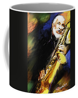 Sonny Rollins Groovin' The Sax Coffee Mug by Ted Azriel