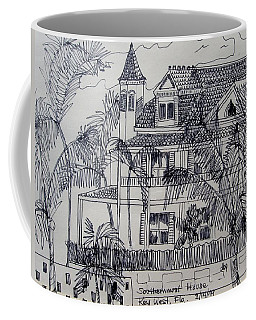 Coffee Mug featuring the mixed media Southernmost House  Key West Florida by Diane Pape