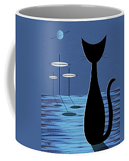 Coffee Mug featuring the digital art Space Cat In Blue by Donna Mibus