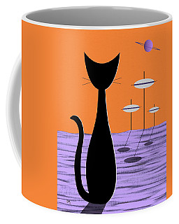 Space Cat Orange Sky Coffee Mug