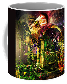 Coffee Mug featuring the mixed media Space Garden by Ally  White