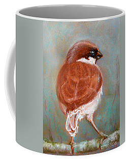 Coffee Mug featuring the pastel Sparrow by Jasna Dragun